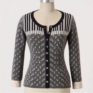Anthropologie Field & Flower Piano Music Cardigan